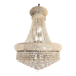 Empire Chrome Finish Clear Crystal Chandelier For Sale