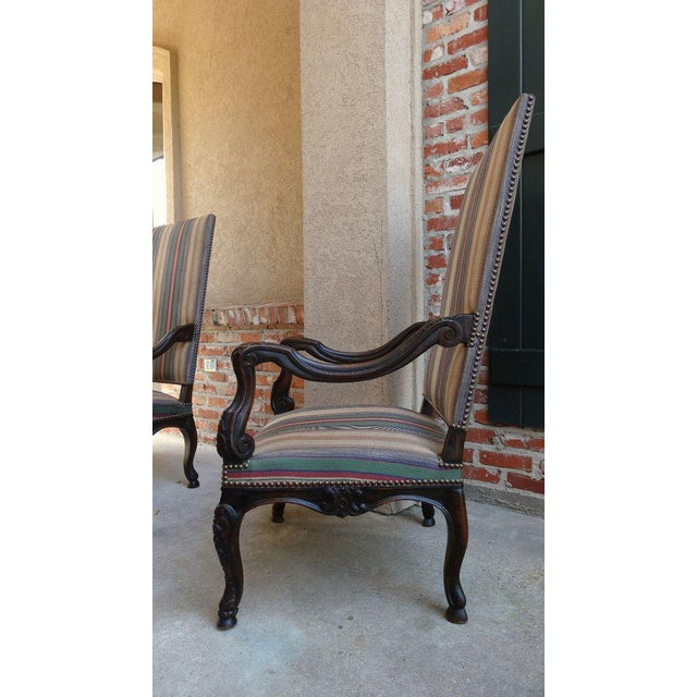 Brown Antique Louis XV French Carved Walnut Dining Arm Chair For Sale - Image 8 of 11