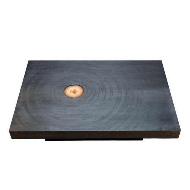 1970s Belgian rectangular aluminum acid etched low coffee table with an inset agate (lighted) top and resting on an...