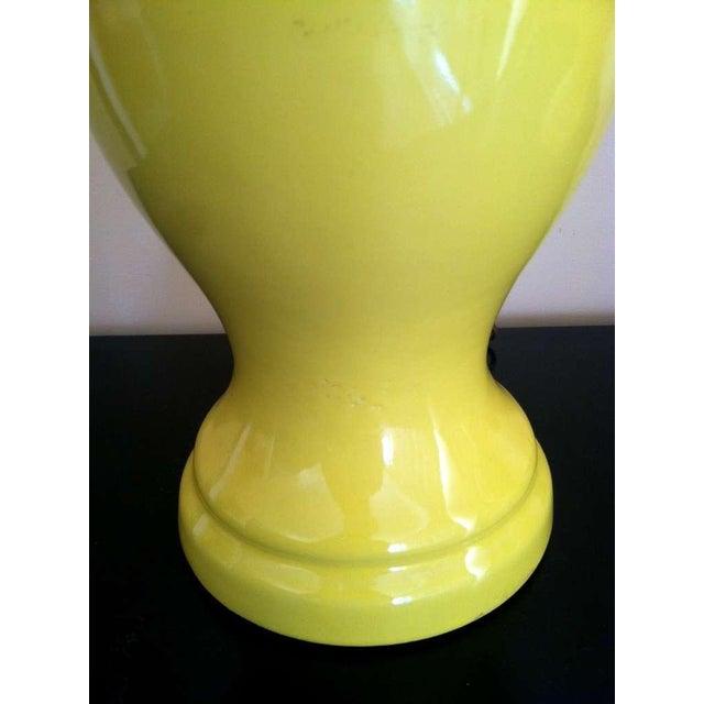 Mid-Century Ceramic Yellow Lamps - Pair - Image 2 of 2