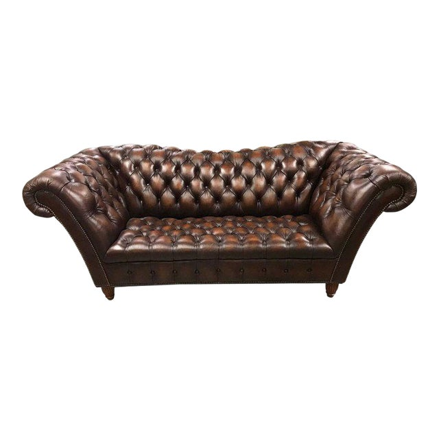 Sumptuous Leather Chesterfield Sofa With Rolled Arms For Sale