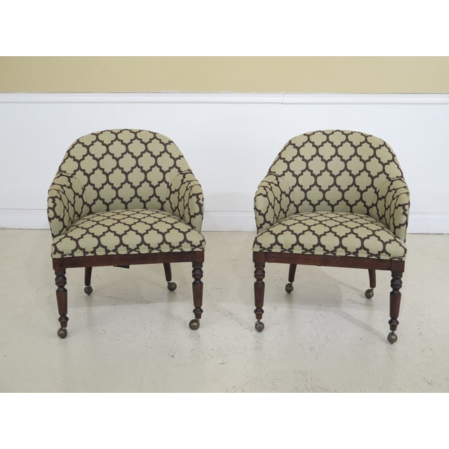 Modern Century Geometric Print Upholstered Club Chairs- A Pair For Sale - Image 12 of 12