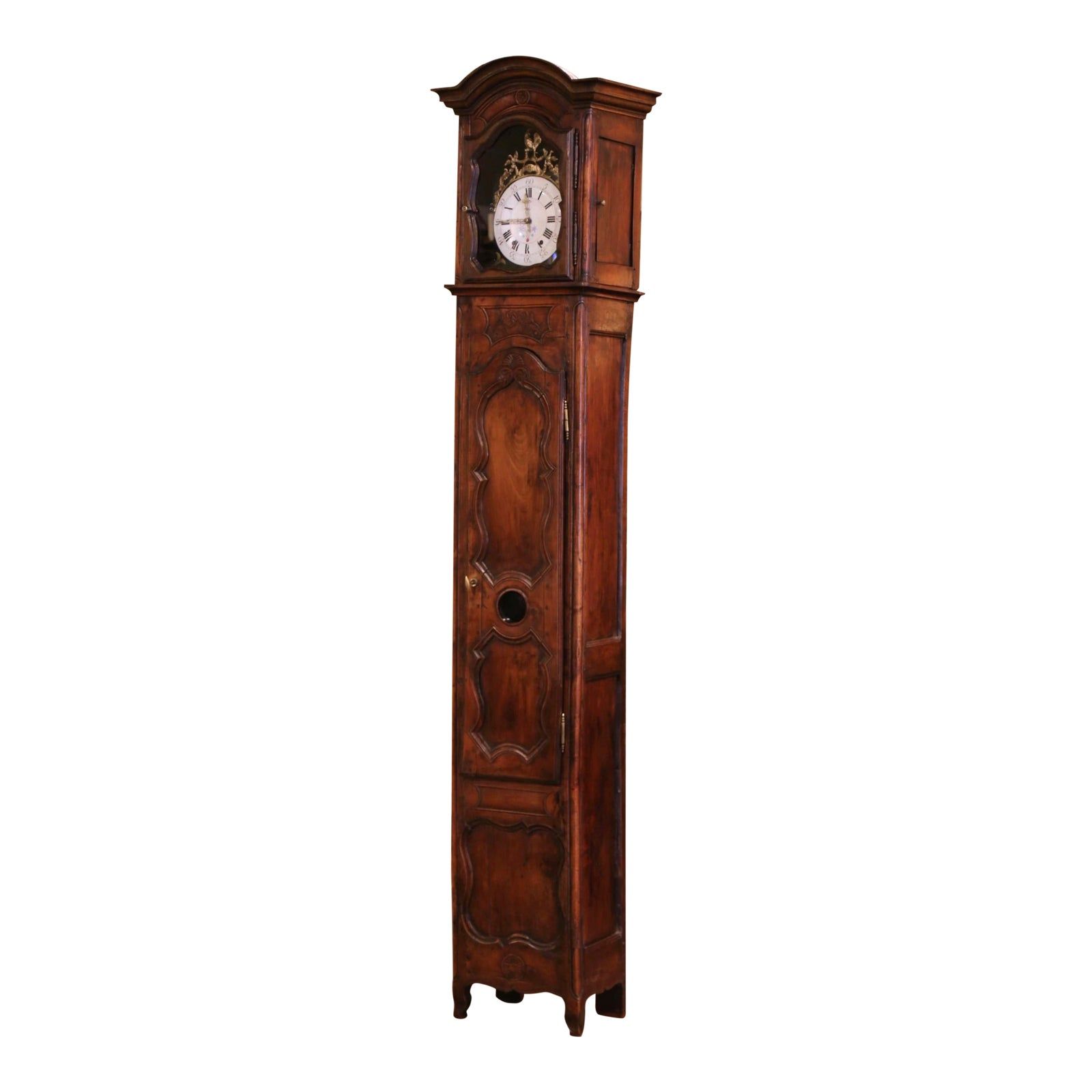 18th Century French Louis Xv Carved Walnut And Burl Case Clock With Rooster Chairish