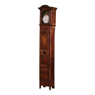 18th Century French Louis XV Carved Walnut and Burl Tall Case Clock With Rooster For Sale