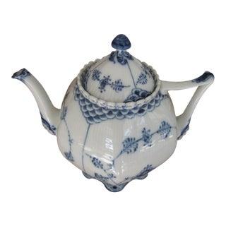 1990s Contemporary Royal Copenhagen Blue Fluted Full Lace Gargoyle Teapot For Sale