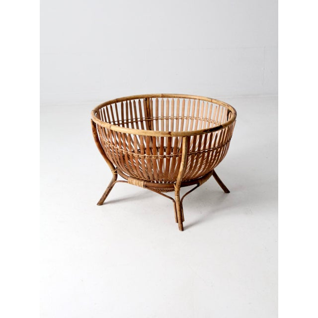 Boho Chic Mid-Century Rattan Basket For Sale - Image 3 of 13