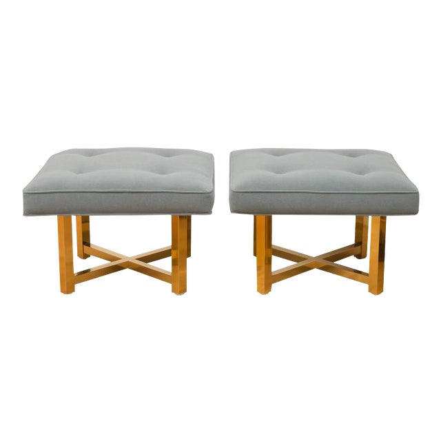 Low Brass Base Ottomans - A Pair For Sale