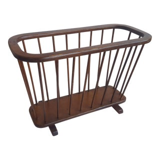 Mid Century Arthur Umanoff Walnut Spindle Magazine Holder For Sale