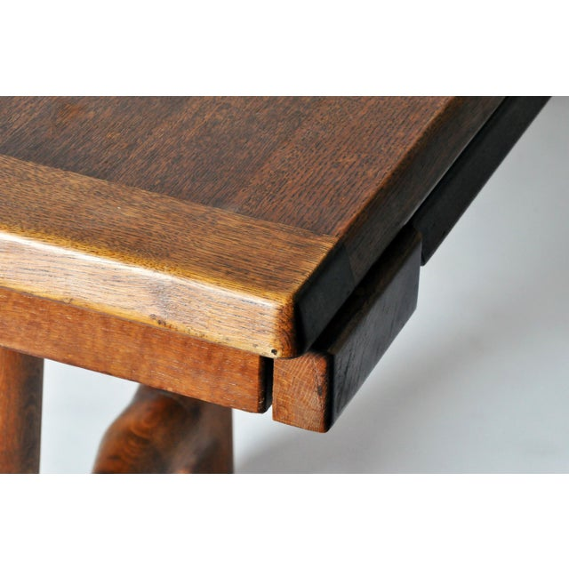 Mid-Century Modern Extension Dining Table attributed to Guillerme et Chambron For Sale In Chicago - Image 6 of 8