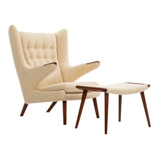 Hans Wegner Papa Bear Chair, Handwoven Vintage Fabric For Sale
