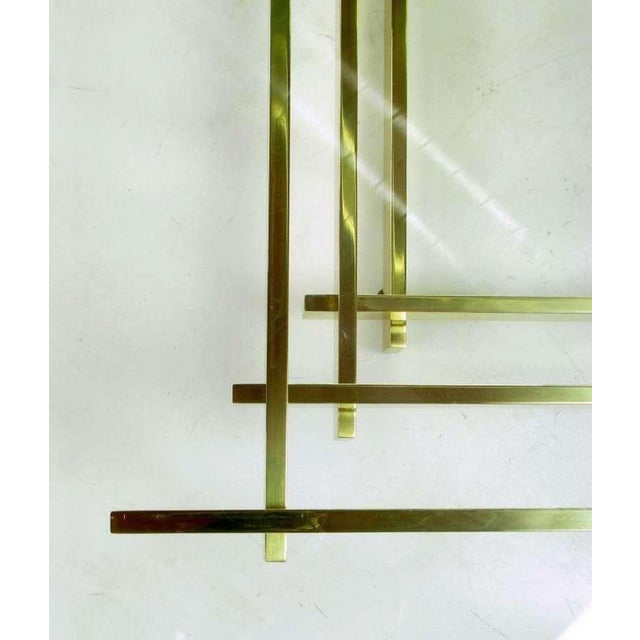 1970s Architectural Stacked Solid Brass Bar & Glass Coffee Table For Sale - Image 5 of 9