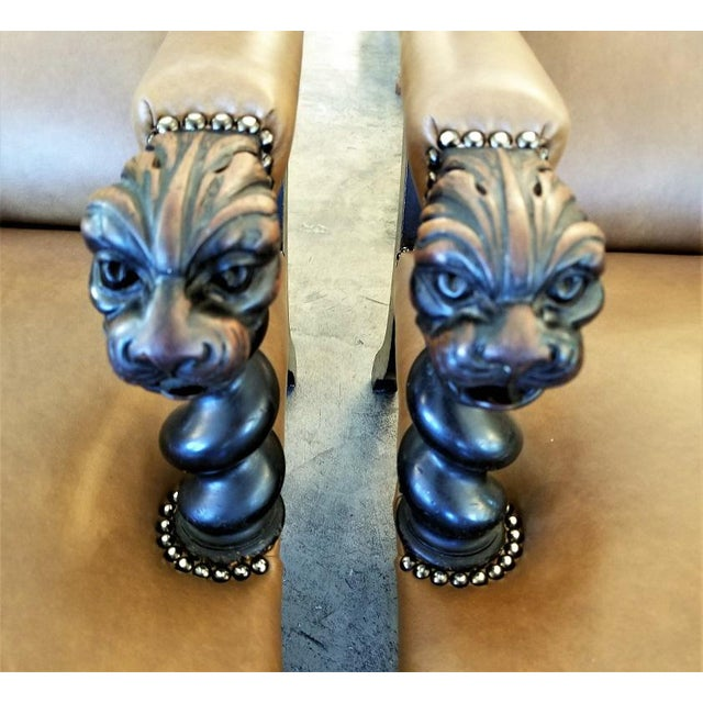 British Dark Walnut Library Chairs With Lions Heads - a Pair For Sale - Image 11 of 11