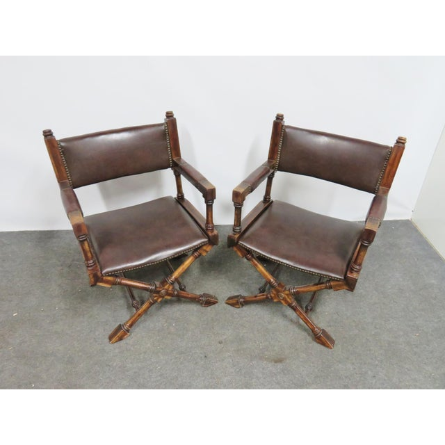 Mid Century Regency Directors Style Chairs- a Pair For Sale - Image 4 of 6