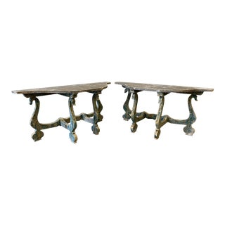 Pair of Italian Painted Swan Console Tables For Sale