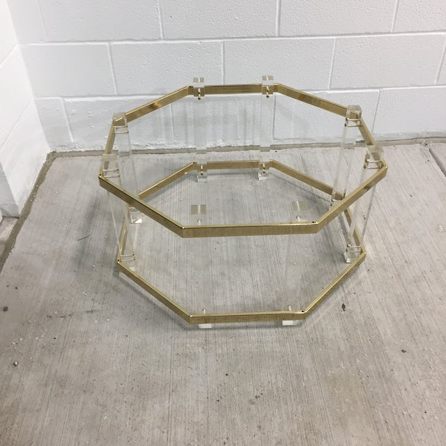 Vintage Mid-Century Lucite Brass Octagonal Coffee Table Base For Sale - Image 9 of 9