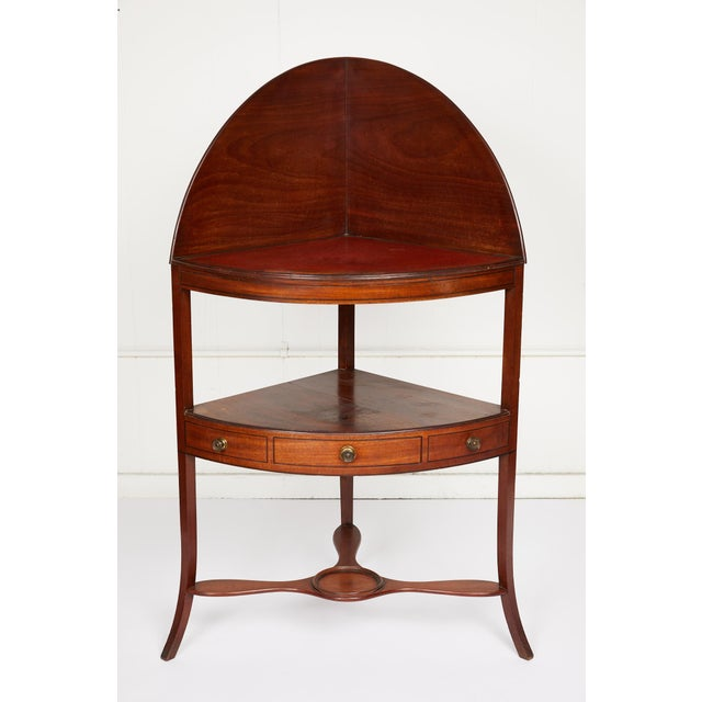 Mahogany Corner Wash Stand With Red Leather Top For Sale - Image 11 of 11