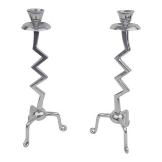 Zig Zag Biomorphic Aluminum Candle Holders - a Pair