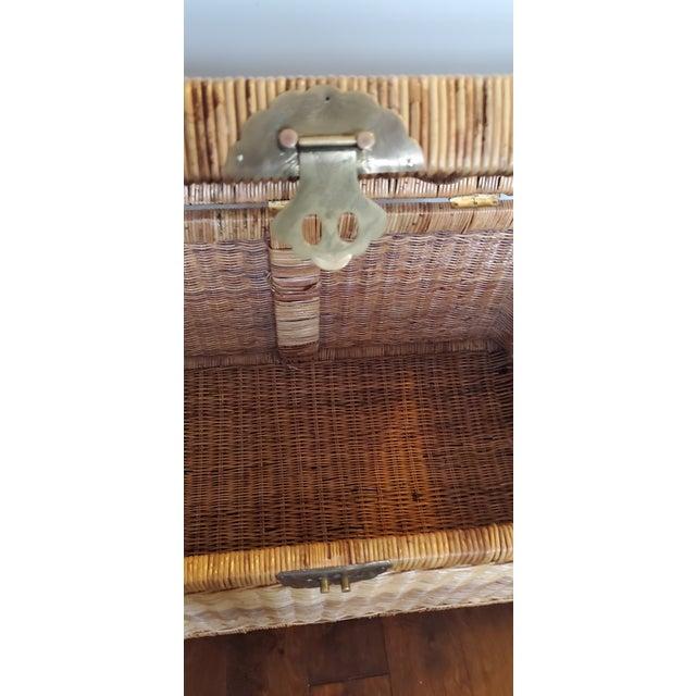 Vintage Wicker Rattan Trunk For Sale In Atlanta - Image 6 of 13