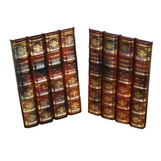 Maitland Smith Pair Leather Bound Faux Book Facades (J) For Sale