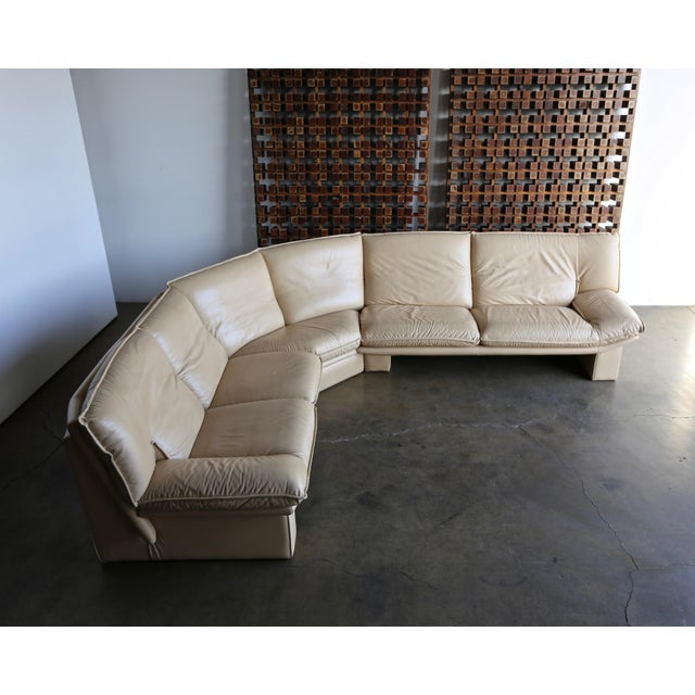 Nicoletti Salotti Leather Sectional Sofa Circa 1985. This piece is in very good to excellent original condition. This sofa...
