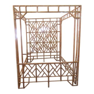 1970s Rattan Canopy Queen Size Bedframe For Sale