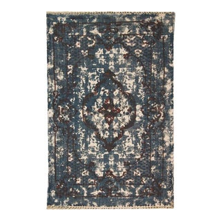 Dark Blue and Purple Distressed Floral Pattern Cotton 'Dhurrie' Rug - 4′ × 6′ For Sale