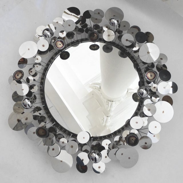 Curtis Jere Raindrops Silver Sculpture Wall Mirror - Image 2 of 5