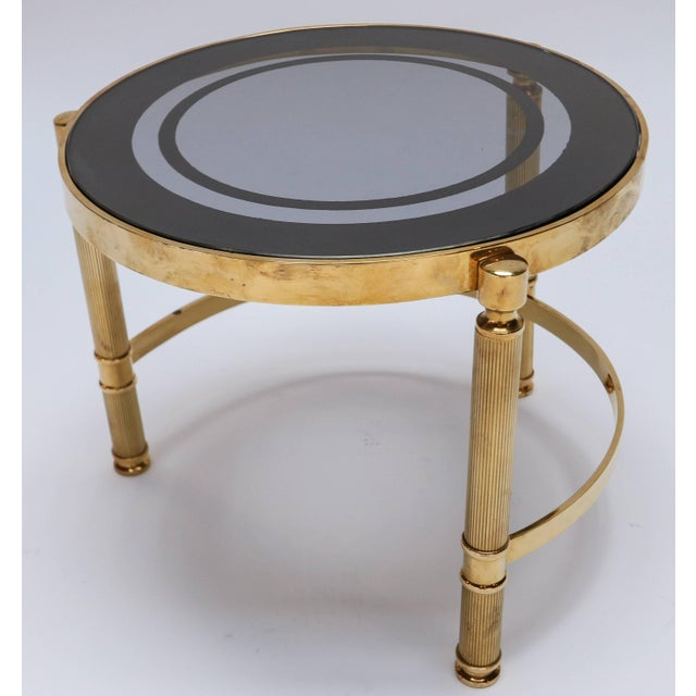 Black Brass Nesting Tables With Smoked Glass Tops - Set of 3 For Sale - Image 8 of 10