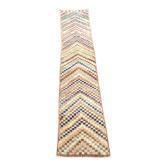 Vintage Geometric Design Turkish Anatolian Wool Runner For Sale