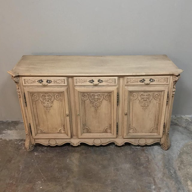 Baroque 19th Century Country French Regence Stripped Oak Buffet For Sale - Image 3 of 13