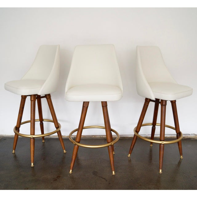 Mid-Century Hollywood Regency Bar Stools - Set of 3 - Image 5 of 11
