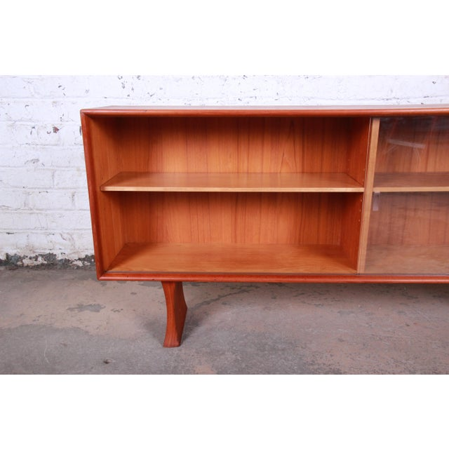 Brown Danish Modern Teak Glass Front Credenza or Bookcase For Sale - Image 8 of 12