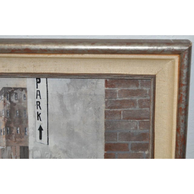 Inner City Basketball Court Oil Painting c.1970s For Sale - Image 5 of 9