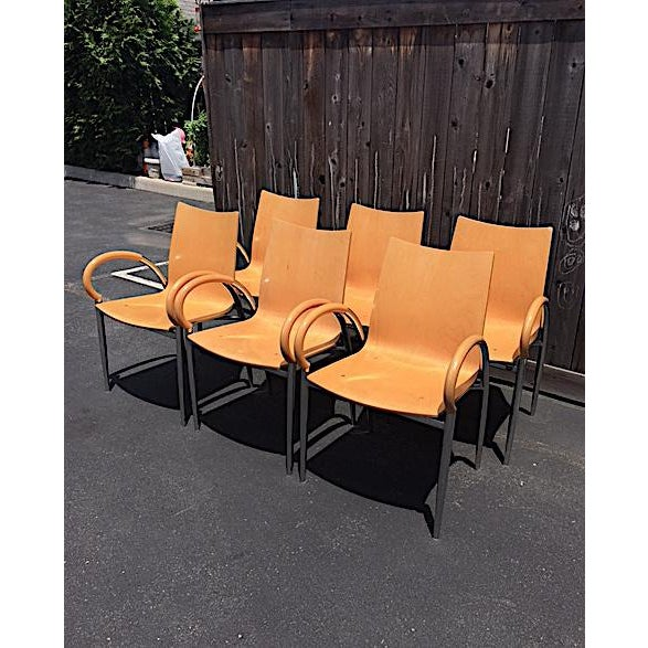 Contemporary Lowenstein Bentwood & Chrome Dining Chairs - Set of 6 For Sale - Image 3 of 9