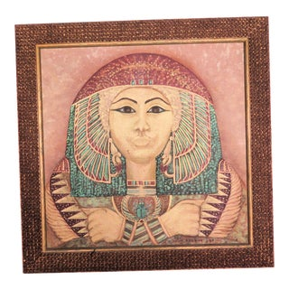 1980s Egyptian Queen Acrylic on Canvas Painting For Sale