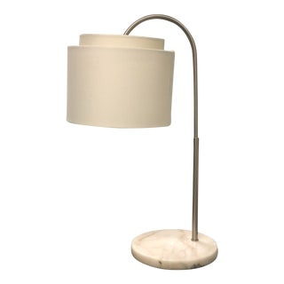Crate & Barrel Marble Base Arc Desk Lamp For Sale