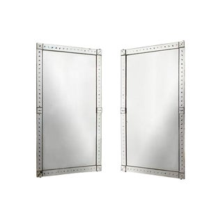 Original Pair of Large Venetian Mirrors With Mirrored Borders For Sale