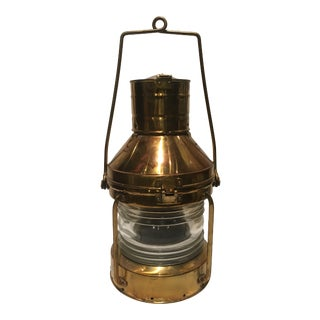 Vintage Copper & Brass Anchor Nautical Lantern