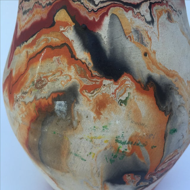 Vintage Red & Orange Nemadji Pottery Vase - Image 7 of 8