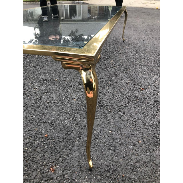 Hollywood Regency Brass & Glass Cocktail Table For Sale In Los Angeles - Image 6 of 10
