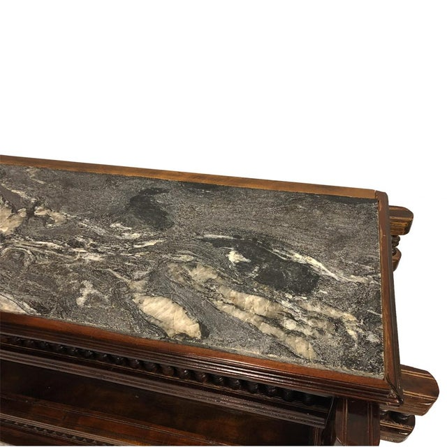 Exceptional Antique Eastlake Victorian Granite Top Carved Side End Hall Table For Sale - Image 6 of 10