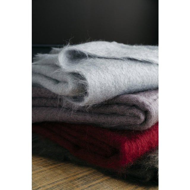 Mohair Throw in Garnet For Sale In Portland, ME - Image 6 of 13