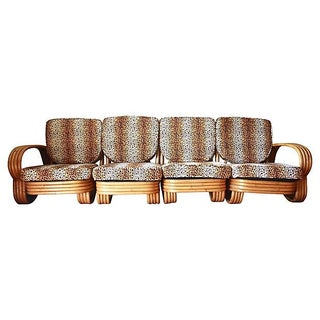Art Deco 4-Bank Bamboo Sectional For Sale