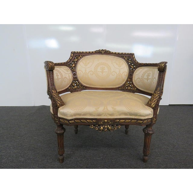 Fabric Louis XVI Style Settee For Sale - Image 7 of 9