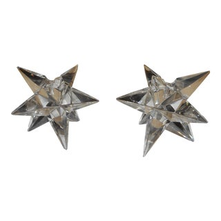 Mid-Century Glass Star Candleholders - a Pair For Sale