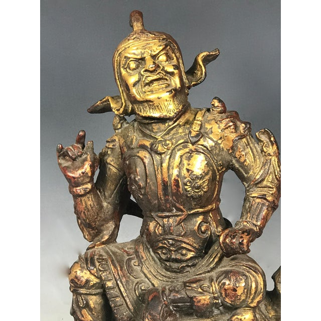 Gold Chinese Art Carved Bronze Warrior For Sale - Image 8 of 11