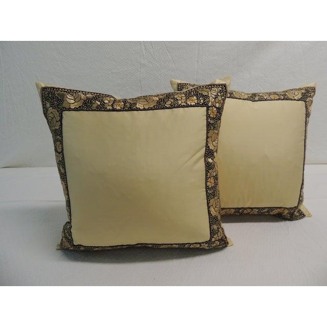Petite Yellow Japanese Silk Pillows - A Pair - Image 2 of 4