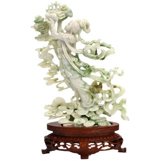 Exquisite Jadeite Jade Fairy Statue For Sale