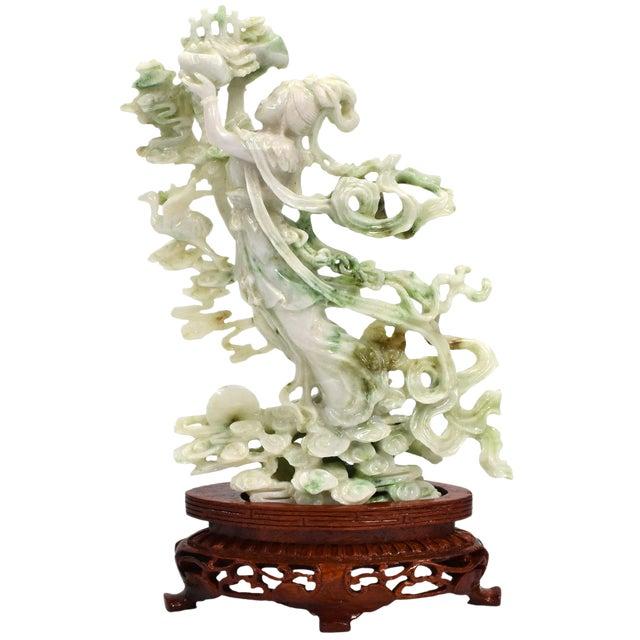 Exquisite Jadeite Jade Fairy Statue For Sale