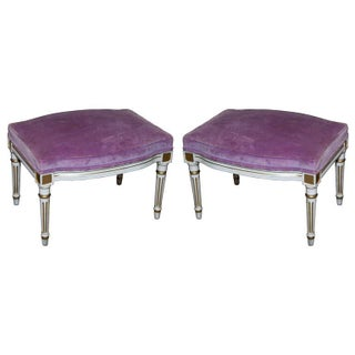 French Louis XVI Style Painted Foot Stools - Pair